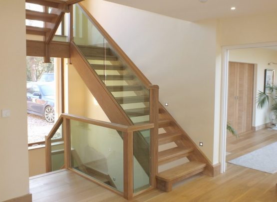 open plan glass staircase obscured glass