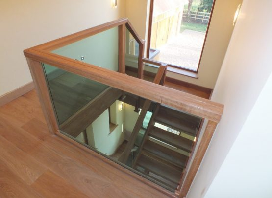 open plan glass staircase