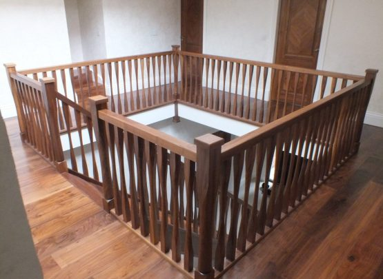 modern spindles, walnut balustrade, walnut doors