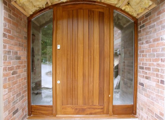 curved front door and frame