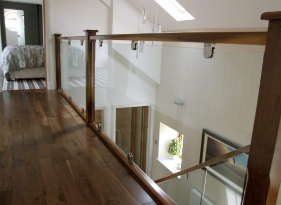 glass staircase balustrade with chrome