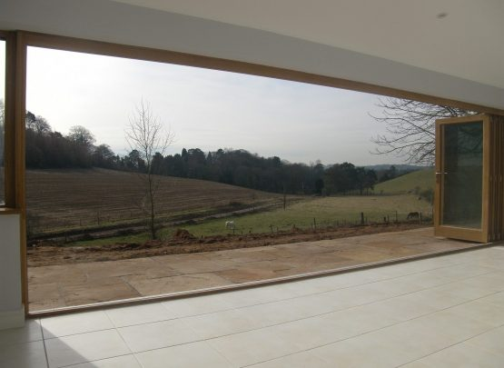 timber bi fold doors, outdoor views