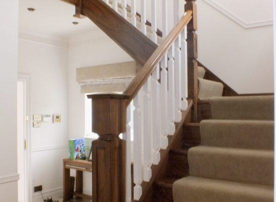 Walnut, White Spindles with carpet runner