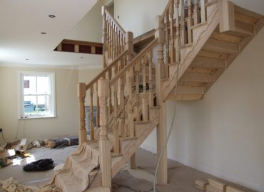 staircase refurbishment with turned spindles